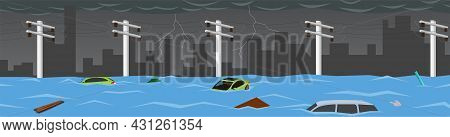 Flood Natural Disaster In Cartoon City. Windstorm From The Heavy Rain Storm Caused Severe Flooding.