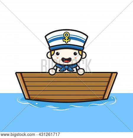 Cute Sailor Get On The Boat Cartoon Icon Illustration. Design Isolated Flat Cartoon Style