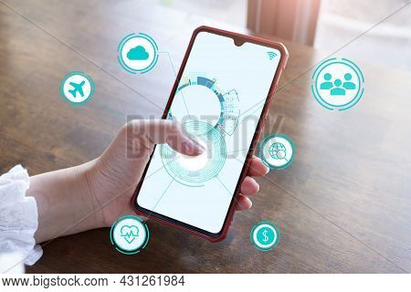 Iot Internet Of Things Development Concept ,the Hand Touch Screen Smartphone To Show The Concept Of