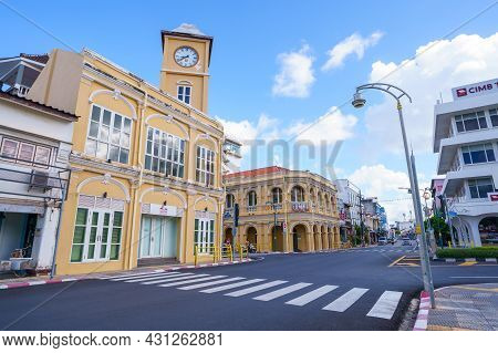 Phuket, Thailand - June 27, 2021 :   Phuket Old Town With Building Sino Portuguese Architecture At P