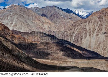 View of Himalayas mountains near Kardung La pass. Ladakh, India