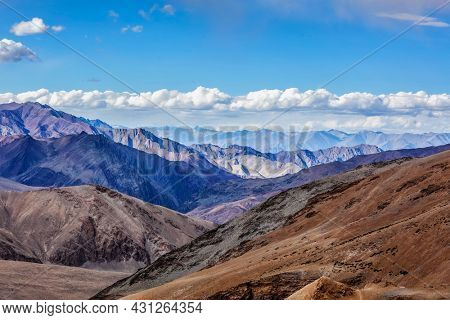 View near Tanglang la Pass - mountain pass in Himalayas along the Leh-Manali highway. Ladakh, India