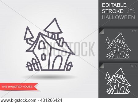 Haunted House. Line Icon With Editable Stroke With Shadow