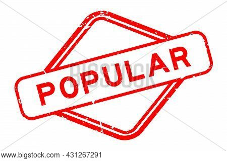 Grunge Red Popular Word Rubbber Seal Stamp On White Background
