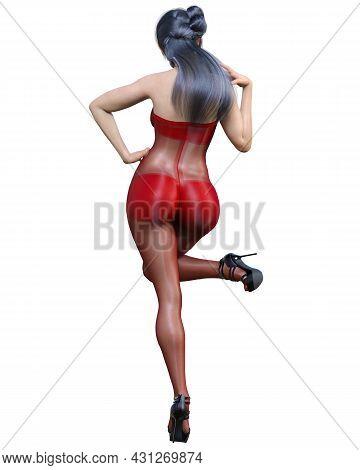 Beautiful Japanese Woman In Bodystocking.