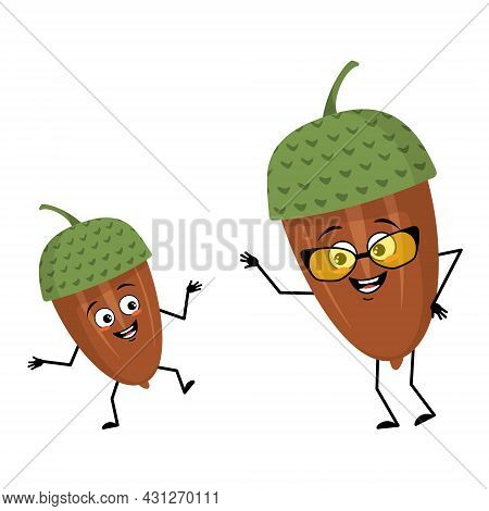 Character Acorn With Happy Emotions, Joyful Face, Smile Eyes, Arms And Legs. Cheerful Forest Plant,