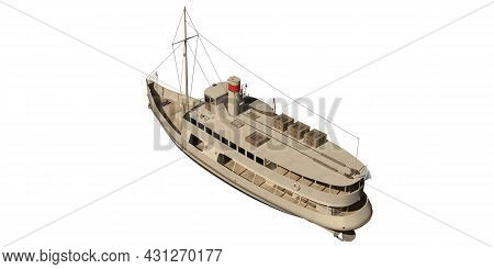 Steamship 3d Illustration Isolated On White Background