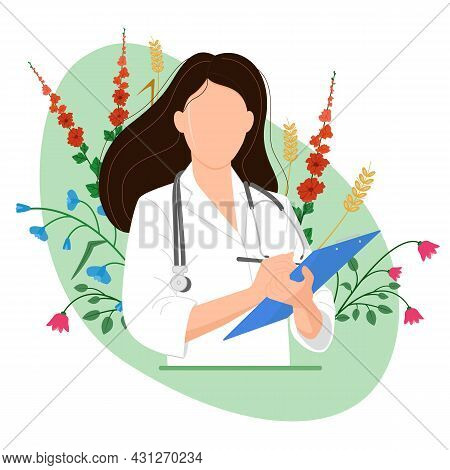 Female Doctor With Blue Tablet, Isolated Image On Green Background. Flowers And Herbs. Alternative M