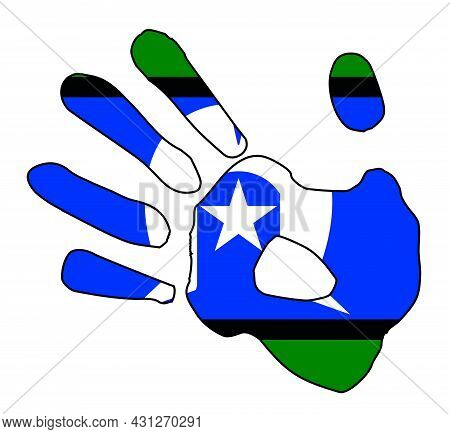 Hand Print Silhouette Abstract Drawing Set Over A Drawing Of The Torres Strait Islanderflag