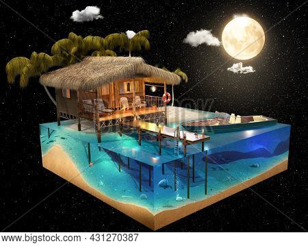 Tropical Island In The Moonlight. Tourist Vacation Concept. 3d Rendering.
