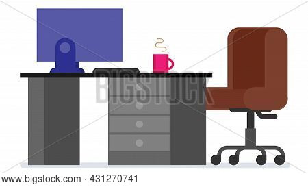Home Or Office Desk With Pedestal Drawer, Castors Chair, Computer And Coffee Cup. Flat Style Work Ta