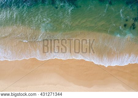 An Aerial Top Down View Of The Clear Water At Nobbys Beach - Newcastle Nsw Australia