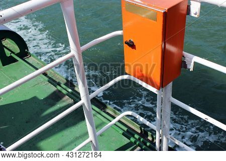 View From The Ferry Sailing On The Sea. The Photo Shows Blue-green Sea Water, Foam Waves, Ferry Equi