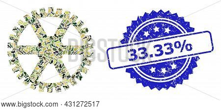 Military Camouflage Collage Of Clock Gearwheel, And 33.33 Percent Rubber Rosette Seal Print. Blue Se