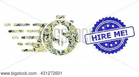 Military Camouflage Composition Of Credit Meter, And Hire Me Exclamation Dirty Rosette Stamp. Blue S