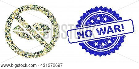 Military Camouflage Combination Of Forbidden Kiss, And No War Exclamation Rubber Rosette Stamp Seal.
