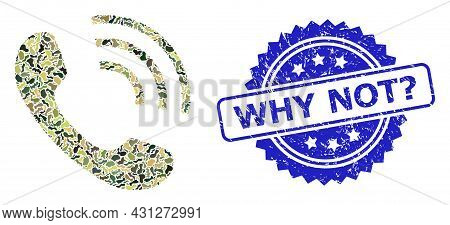 Military Camouflage Collage Of Phone Call, And Why Not Question. Dirty Rosette Seal. Blue Stamp Seal
