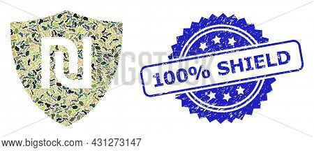 Military Camouflage Composition Of Shekel Guard, And 100 Percent Shield Rubber Rosette Seal. Blue Se