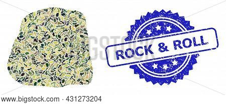 Military Camouflage Combination Of Stone, And Rock And Roll Scratched Rosette Seal Print. Blue Seal