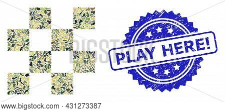 Military Camouflage Composition Of Chess Cells, And Play Here Exclamation Scratched Rosette Stamp. B