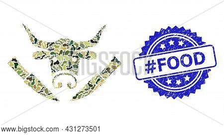 Military Camouflage Combination Of Cow Butchery, And Hashtag Food Corroded Rosette Seal. Blue Seal I