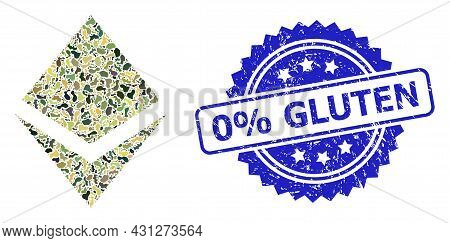 Military Camouflage Collage Of Crystal, And 0 Percent Gluten Textured Rosette Stamp Seal. Blue Stamp