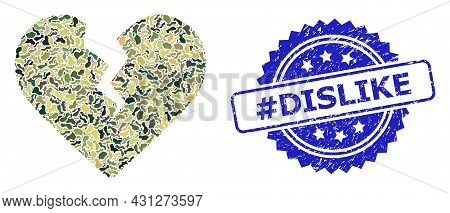 Military Camouflage Collage Of Divorce Heart, And Hashtag Dislike Rubber Rosette Stamp. Blue Stamp I