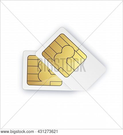 Dual Sim Card Sign. Dual Sim Card Symbol Vector Illustration. Two-way Picture Of A Smartphone.