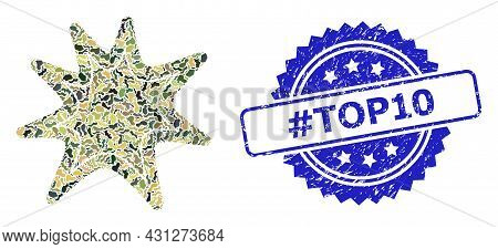 Military Camouflage Composition Of Exploding Boom, And Hashtag Top10 Dirty Rosette Stamp Seal. Blue