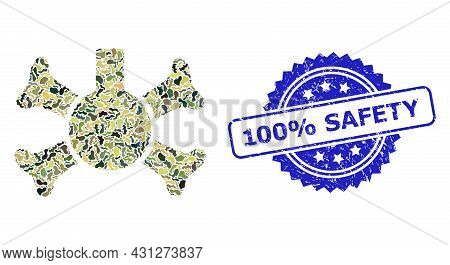Military Camouflage Composition Of Poison Flask, And 100 Percent Safety Textured Rosette Stamp Seal.