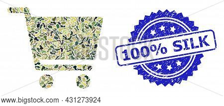 Military Camouflage Collage Of Shopping Cart, And 100 Percent Silk Dirty Rosette Stamp Seal. Blue St