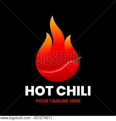 Hot Chili Logo Design Template. Flame With A Chili Pepper. Stock Vector Illustration.