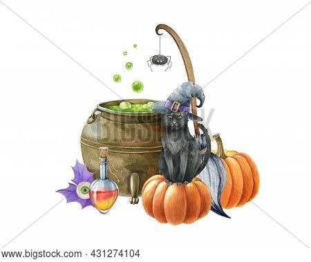 Watercolor Halloween Illustration. Black Cat, Kettle, Pumpkin, Broom And Potion. Witchcraft Object D
