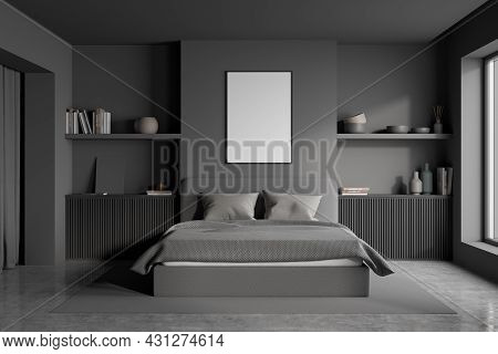 Poster In The Bedroom With Grey Design, Using Two Symmetric Niches With Two Wooden Basement Ledges I
