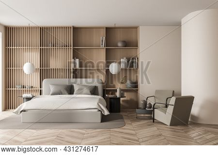 Bright Bedroom Interior With Large Bed, Two Armchairs, Carpet, Lamps, Coffee Table And Oak Wooden Pa