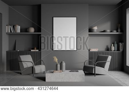Poster In A Grey Living Room Interior With Shelves Over A Basement Ledge And A Coffee Table With Two
