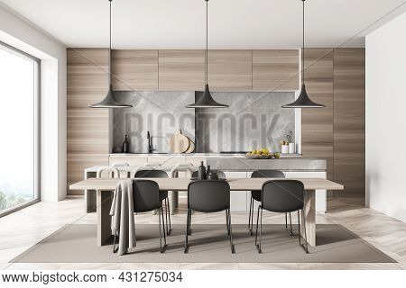 Kitchen Room Interior With Dining Table, Twelve Chairs, Wooden Parquet Floor, Electric Cooker And Pa