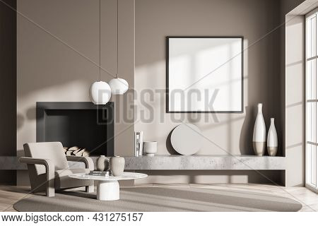 Living Room Interior With White Empty Poster, Comfortable Armchair, Cozy Coffee Table, Fireplace, Ca