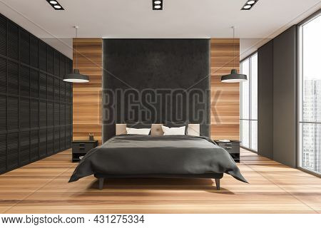Stylish Bedroom Interior With A Black Wall, A Bed With Two Bedstands, Two Pendant Lamps, A Panoramic