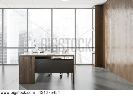 Side View On Dark Office Room Interior With Panoramic Window With Singapore City Skyscrapers, Deskto
