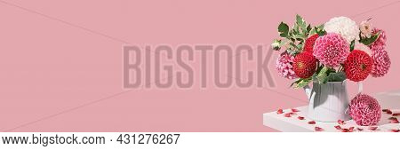 Banner With Autumn Bouquet Of Beautiful Flowers On White Table. Autumn Festive Decoration In Pink Co