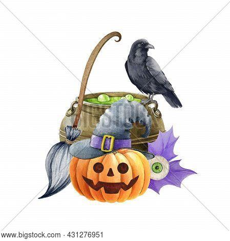 Witchcraft Halloween Illustration. Black Raven Bird, Kettle, Pumpkin, Broom. Wizard Magic Objects De