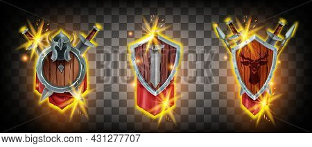 Winner Game Badge Icon Kit, Vector Rank Heraldic Award Set, Medieval Knight Shield, Sword, Helmet, S