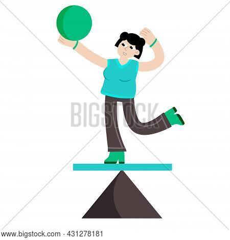 Woman Balancing On Geometric Figure. Concept Of Problem Solving And Multitasking. Circus And Yoga. F