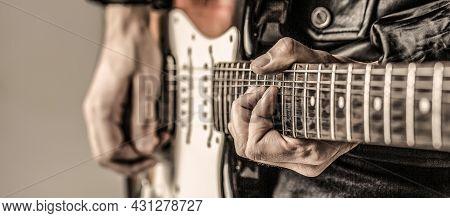 Man Playing Guitar. Close Up Hand Playing Guitar. Musician Playing Guitar, Live Music