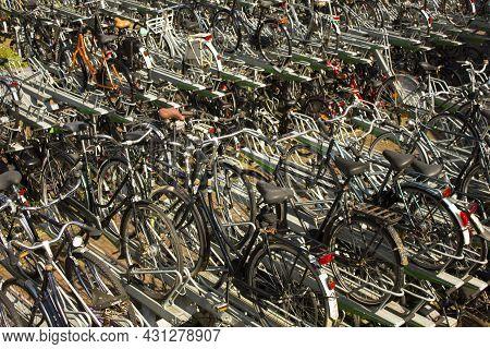 Rotterdam, Netherlands - July 25, 2021: Numerous Parked Bicycles In Rotterdam, Netherlands.  160.000