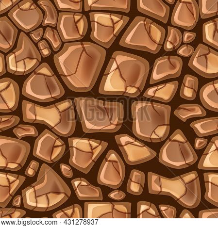 Dry Soil Seamless Pattern Game Ground Desert Vector Texture, Cracked Drought Earth Background. Natur