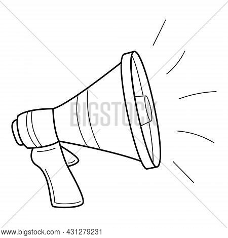 Loudspeaker, Megaphone, Horn. Broadcasting Of News, Messages. Hand-drawn Black And White Vector Illu