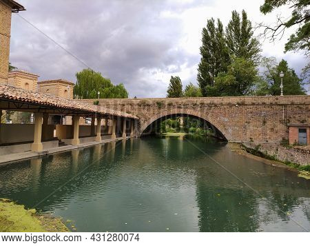 Bevagna (umbria, Italy) - An Artificial Reservoir Called Accolta In The Clitunno River In Bevagna, M