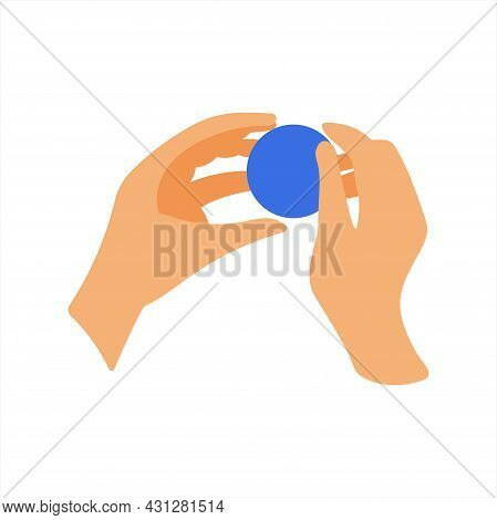 Human Hands With A Round Ball And Plasticine. The Development Of Fine Motor Skills. Flat Style Illus